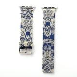 For Apple Watch Series 3 & 2 & 1 38mm Retro Silk Canvas + Genuine Leather Wrist Watch Band (Blue)