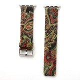For Apple Watch Series 3 & 2 & 1 38mm Retro Silk Canvas + Genuine Leather Wrist Watch Band (Black + Red)