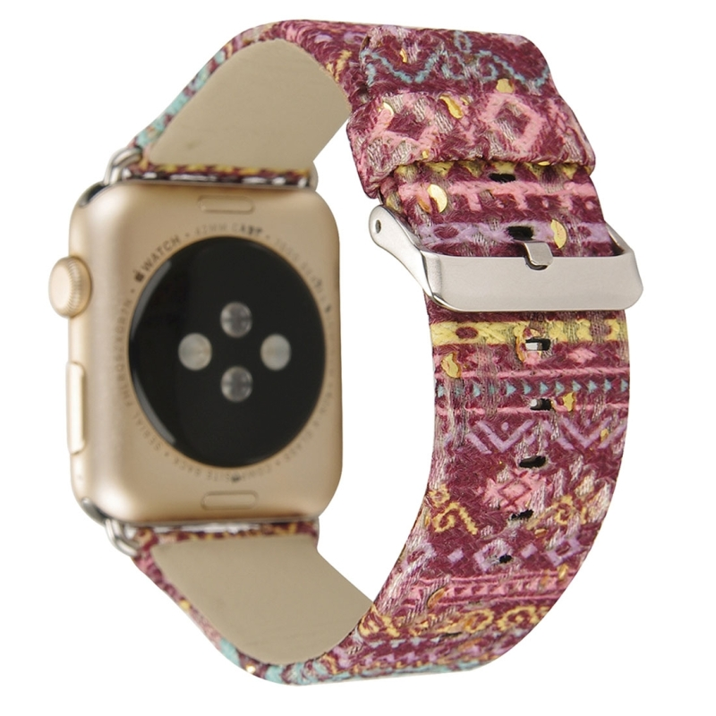For Apple Watch Series 3 & 2 & 1 38mm Ethnic Style Retro Canvas + Genuine Leather Wrist Watch Band (Purple)