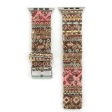 For Apple Watch Series 3 & 2 & 1 38mm Ethnic Style Retro Canvas + Genuine Leather Wrist Watch Band (Brown)