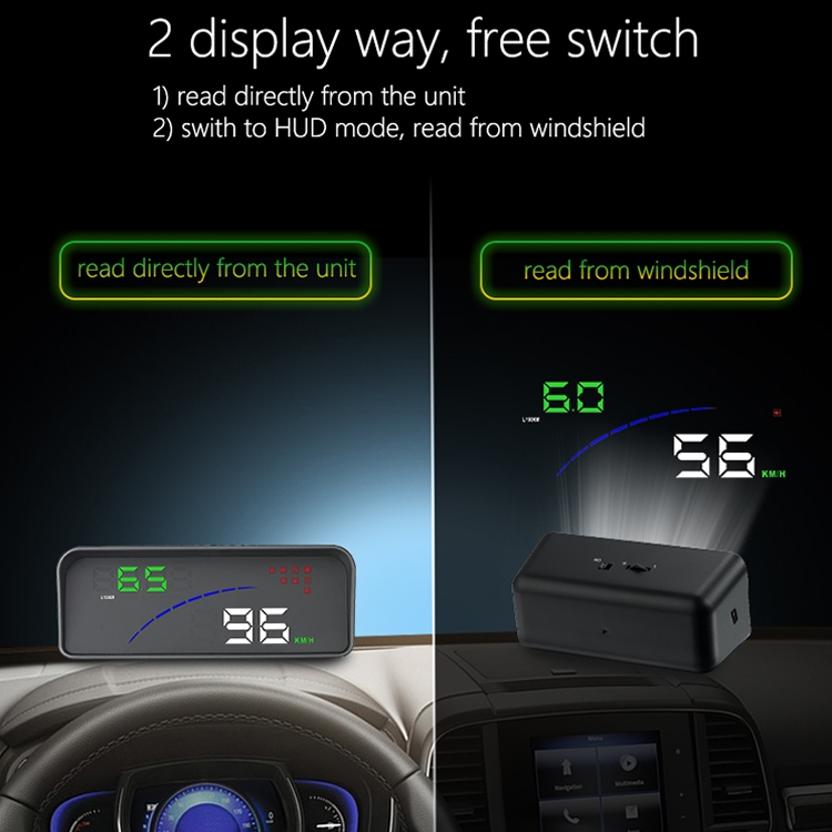 P9 HUD 3.6 inch Car OBD2 Smart Digital Meter with Multi-color, Speed & RPM & Water Temperature & Oil Consumption & Driving Distance / Time & Voltage Display, Over Speed Alarm, Low Voltage Alarm, Kilometers & Miles Switching, Light Sensor Functions