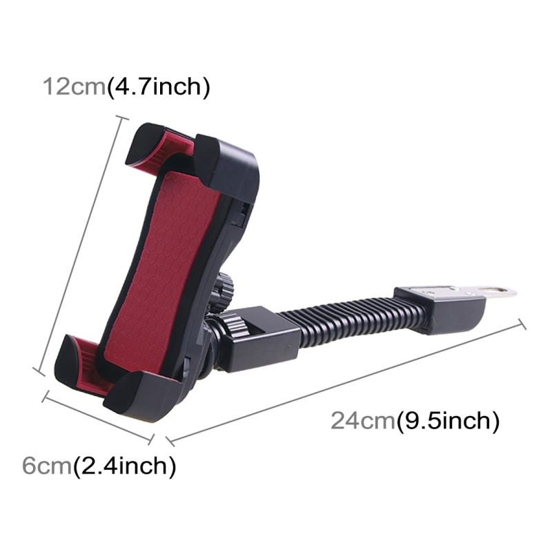Universal 360 Degrees Free Rotation ABS Motorcycle Phone Bracket Mountain Bike Navigation Bracket GPS/Mobile Holder for 3.5-6.5 inch Mobile Phone (Rose Red)