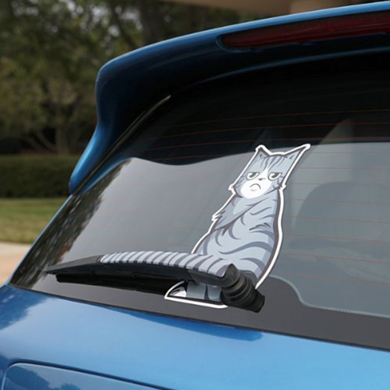 Rear Windshield Wiper >> Vehicle Car Rear Windshield Window Wiper Reflective Self Adhesive Frowning Cat Moving Tail Vinyl Decal Sticker