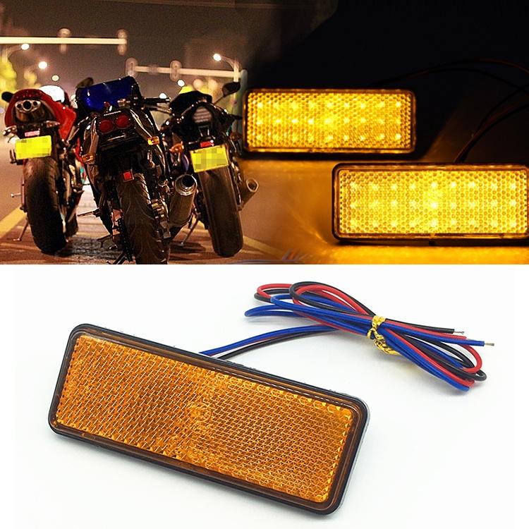 Car Motorcycle Universal Rectangle 24 LED Marker Reflector Brake Rear Tail Light