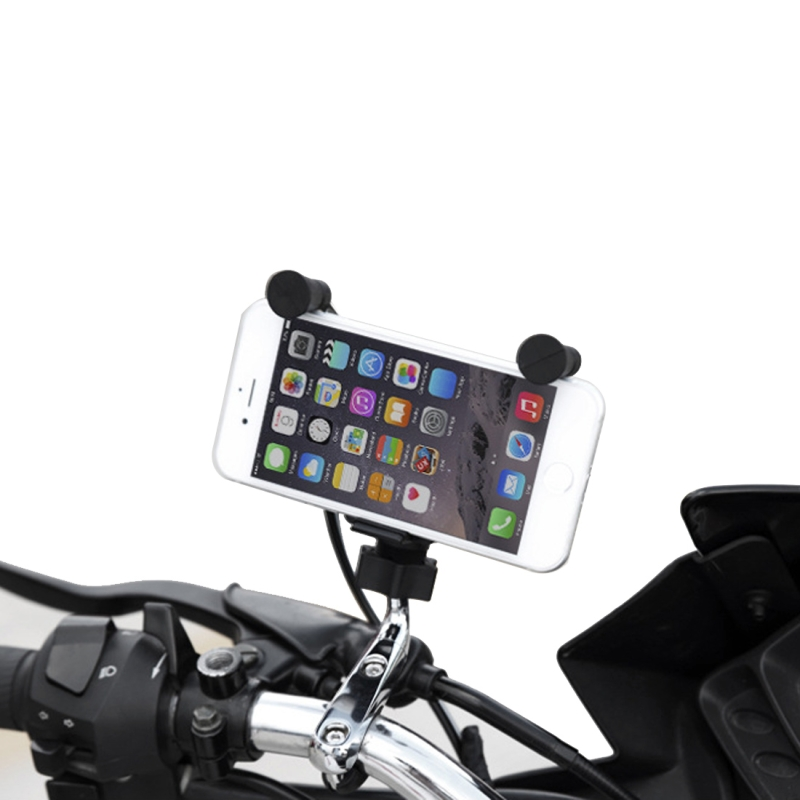 Universal Motorcycle USB Phone Charger with 360 Degree Rotatable Holder, Suitable for 4.5-6 inch Smartphones