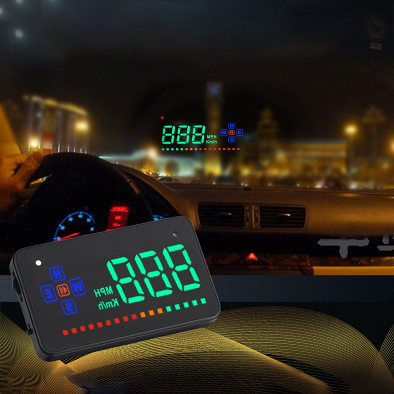 A2 HUD 3.5 inch HD GPS Car Head Up Display, Speed & Over Speed Alarm, Compass, Freely Switch Between Kilometers and Miles (Black)