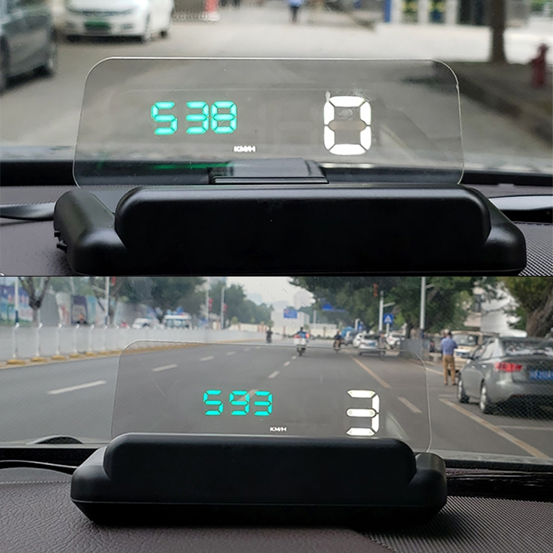 C500 Car HUD Virtual HD Projection Head-up Display, With Adjustable Reflection Board, Speed & RPM & Water Temperature & Oil Consumption & Driving Distance / Time & Voltage Display, Over Speed Alarm, Connect OBD2 Interface (Green)