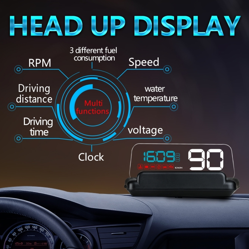 C500 Car HUD Virtual HD Projection Head-up Display, With Adjustable Reflection Board, Speed & RPM & Water Temperature & Oil Consumption & Driving Distance / Time & Voltage Display, Over Speed Alarm, Connect OBD2 Interface (Blue)