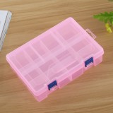 Double layer 8 Slots Plastic Jewelry Box Organizer Storage Container with Adjustable Dividers (Pink)