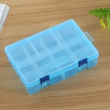 Double layer 8 Slots Plastic Jewelry Box Organizer Storage Container with Adjustable Dividers (Blue)