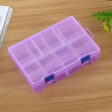 Double layer 8 Slots Plastic Jewelry Box Organizer Storage Container with Adjustable Dividers (Purple)