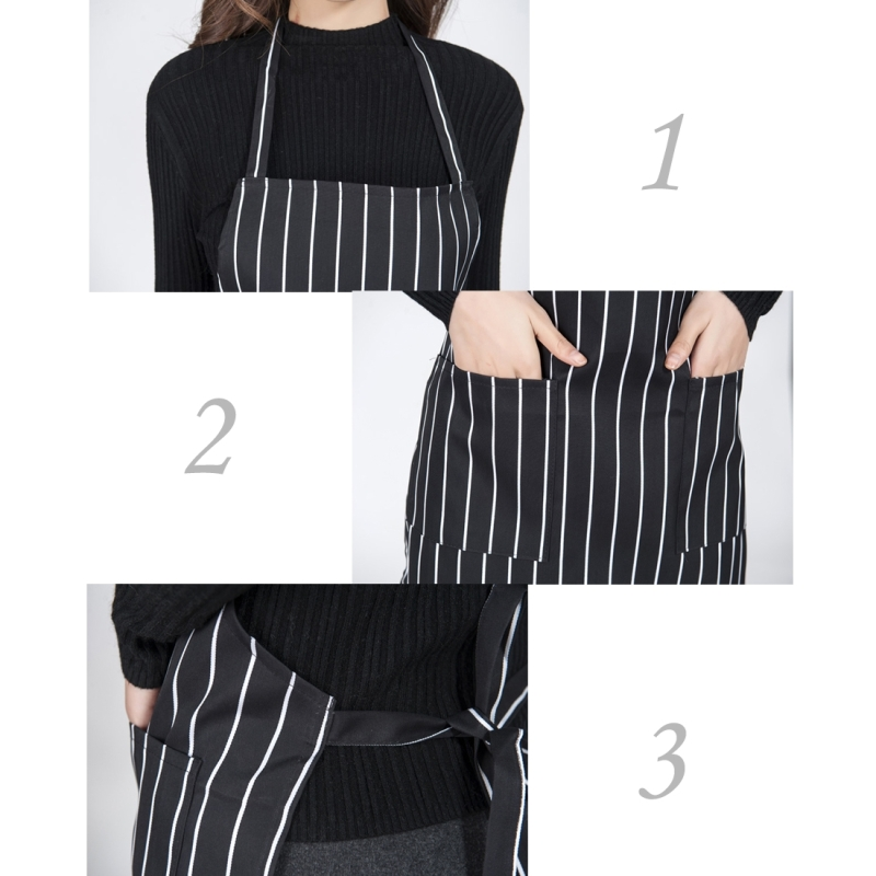 2 PCS Black and White Stripes Unisex Chef Waiter Barista Aprons Work Aprons