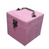 Chinese Palace Style Three-Layer Lockable Jewelry Box Case Mirrored Storage Organizer Gift Case (Pink)