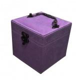 Chinese Palace Style Three-Layer Lockable Jewelry Box Case Mirrored Storage Organizer Gift Case (Purple)