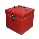 Chinese Palace Style Three-Layer Lockable Jewelry Box Case Mirrored Storage Organizer Gift Case (Red)