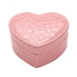 Two-layer Heart Shape Small Jewelry Box Synthetic Leather Rings and Earrings Mirrored Travel Storage Case (Pink)