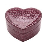 Two-layer Heart Shape Small Jewelry Box Synthetic Leather Rings and Earrings Mirrored Travel Storage Case (Purple)