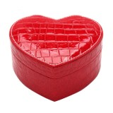 Two-layer Heart Shape Small Jewelry Box Synthetic Leather Rings and Earrings Mirrored Travel Storage Case (Red)