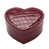 Two-layer Heart Shape Small Jewelry Box Synthetic Leather Rings and Earrings Mirrored Travel Storage Case (Purplish Red)