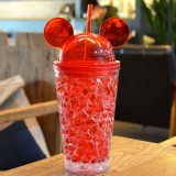 450ml Leak Proof Double Layer AS-Made Beverage Cute Bottle With Cap And Straw For Summer Day (Red)