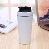 500mL (17.5oz) Healthy Sports Cup Stainless Steel Protein Powder Classic Shaker Bottle Replacement Milkshake Cup (Matte White)