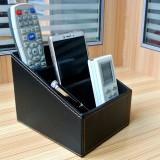 PU Leather Three Grid Desktop Organizer Box Remote Controllers Storage Box Case Sundries Box
