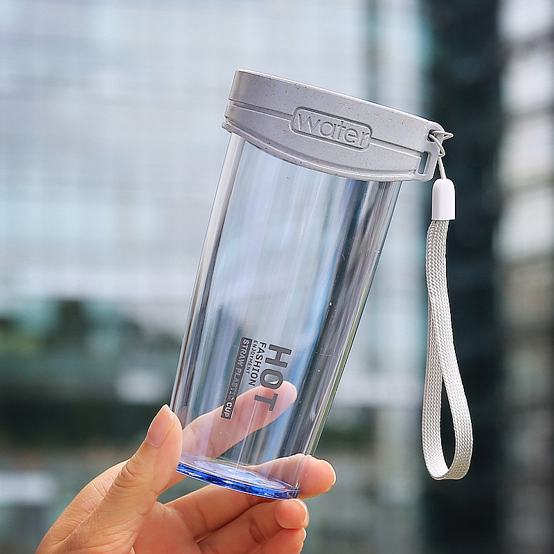 350ml Leak Proof Brief Transparent Plastic Water Bottle With Handle Strap For Outdoor, Home And Office Using (Blue)