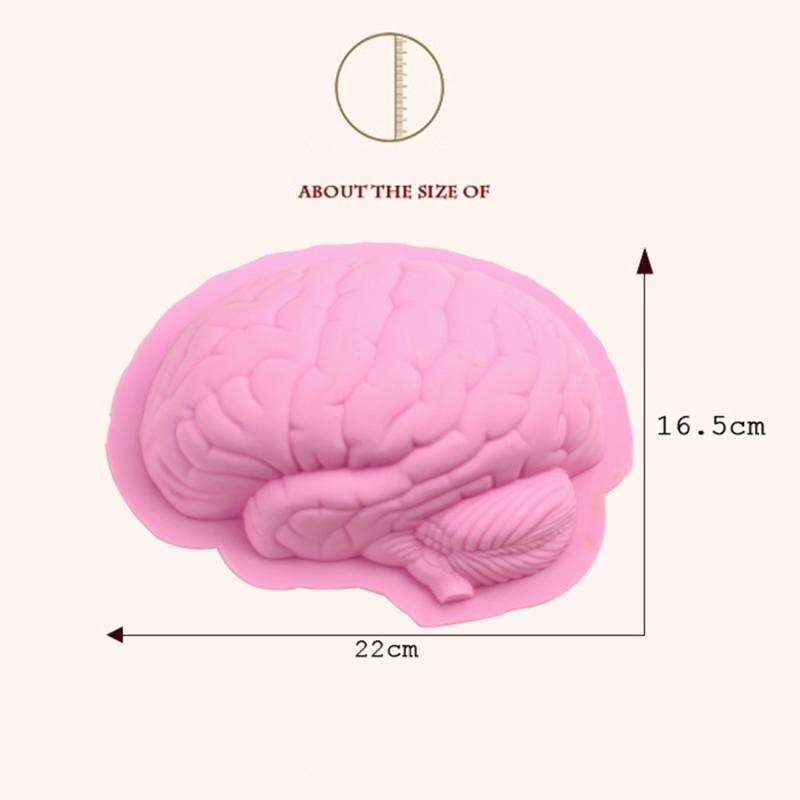 Human Brain Shape Silicone Baking Halloween Cake Mold Pudding Dessert Mold (Pink)