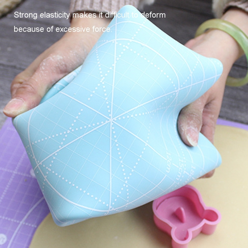 Non-slip Large and Thick Silicone Pastry Mat with Measurements 19 x 15 Inch, Random Color