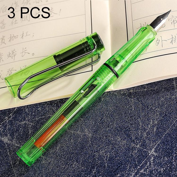 3 PCS School Office Extra Fine Titanium Alloy Nib Transparent Piston Fountain Pen (Clear Green), Random Delivery (0.5mm/0.38mm Nib)