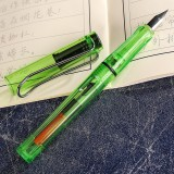3 PCS School Office Extra Fine Titanium Alloy Nib Transparent Piston Fountain Pen (Clear Green), Random Delivery (0.5mm/0.38mm Nib)