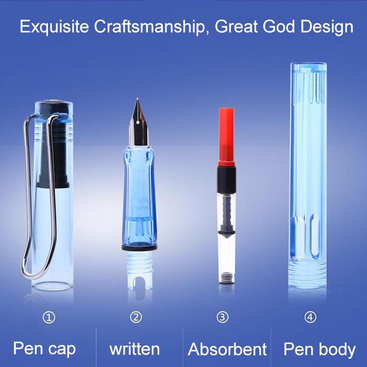3 PCS School Office Extra Fine Titanium Alloy Nib Transparent Piston Fountain Pen (Light Blue), Random Delivery (0.5mm/0.38mm Nib)