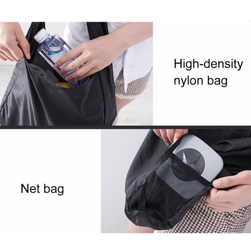 Creative Rotating Foldable Shopping Storage Bag Portable Large Capacity Eco-friendly Nylon Storage Bag, Random Pattern (Grey)
