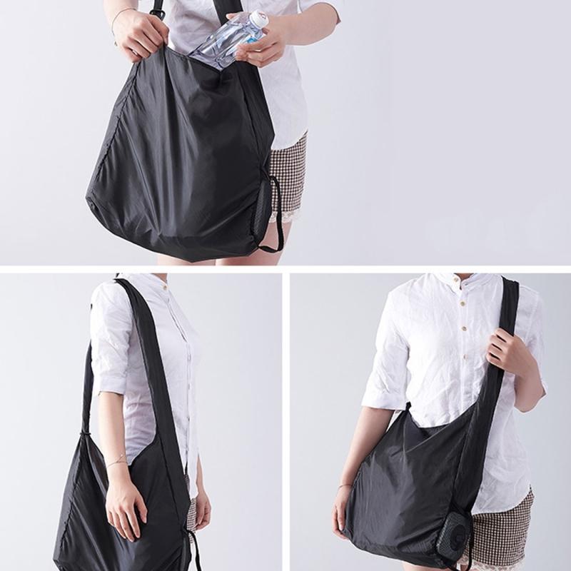 Creative Rotating Foldable Shopping Storage Bag Portable Large Capacity Eco-friendly Nylon Storage Bag, Random Pattern (White)