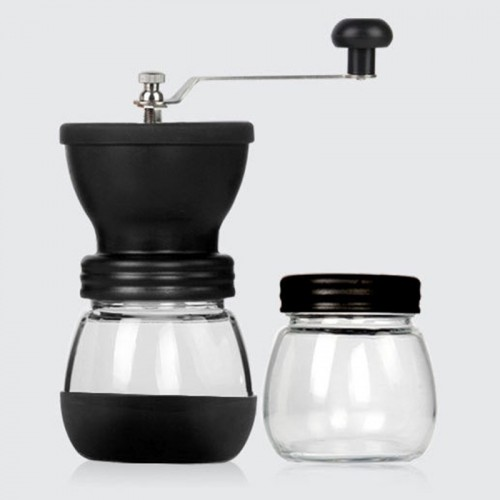 Portable Conical Burr Mill Manual Spice Herbs Hand Grinding Machine Coffee Bean Grinder with Seal Pot
