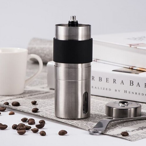 Portable Conical Burr Mill Manual Stainless Steel Hand Crank Coffee Bean Grinder with Silicone Ring, Capacity: 40g