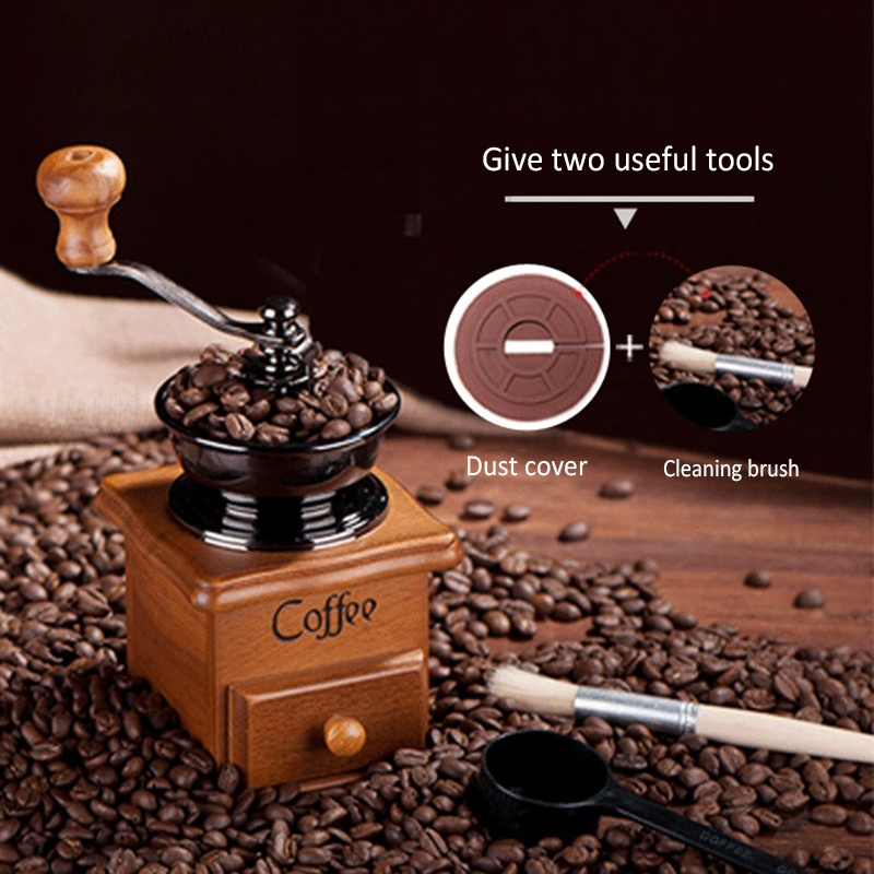 Classical Wooden Mini Coffee Grinder Manual Bean Spice Mill Hand Grinding Machine