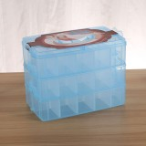 Large Storage Box Three Layer Large 36 Slots Plastic Craft Accessories Beards Jewelry Storage Box Container Home Organizer (Blue)