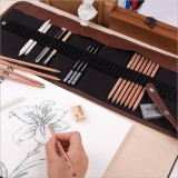 Beginner Sketching Tools (18 PCS Sketching Pencils + Charcoal Pencil + Erasers + Pen Curtain + Art Knife) Sketching Set (Black)