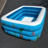 Household Children 1.1m Three Layers Rectangular Printing Inflatable Swimming Pool
