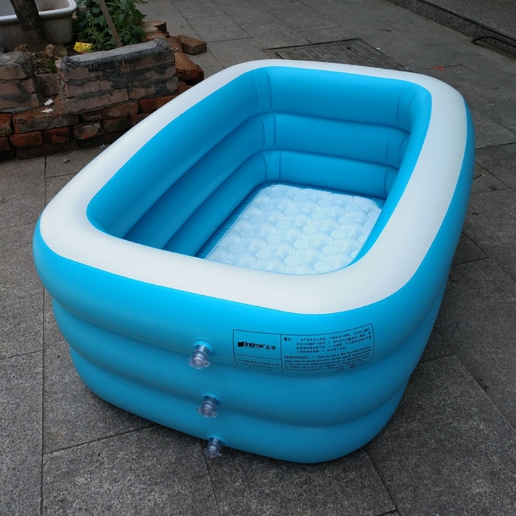 Household Children 1.3m Three Layers Blue and White Rectangular Printing Inflatable Swimming Pool