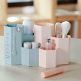 Creative Hexagon Pen Holder Stationery Cosmetics Storage Box (Pink)