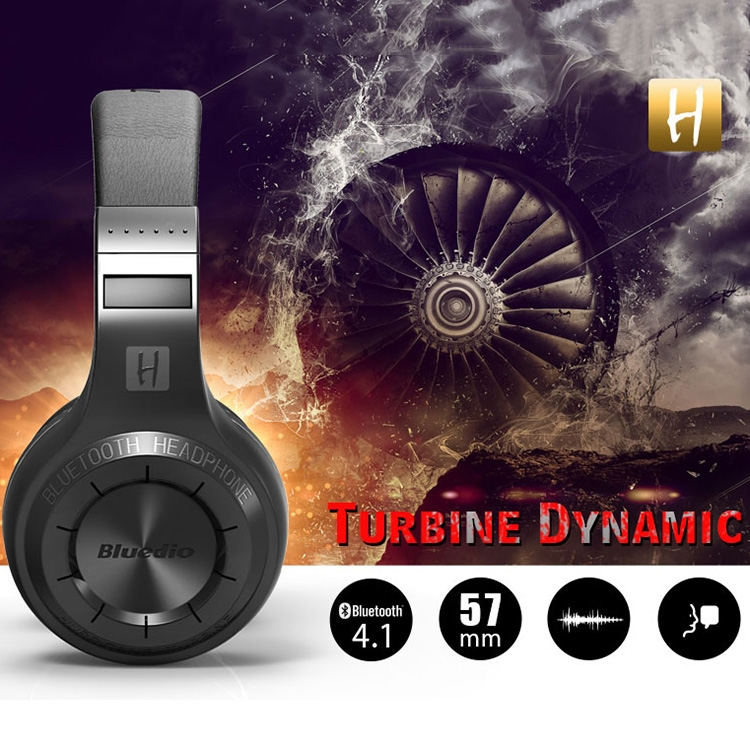 Bluedio H+ Turbine Wireless Bluetooth 4.1 Stereo Headphones Headset with Mic & Micro SD Card Slot & FM Radio, For iPhone, Samsung, Huawei, Xiaomi, HTC and Other Smartphones, All Audio Devices (Black)