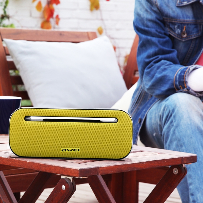 awei Y600 Wireless Bluetooth Speaker with 3D Stereo, Built-in Mic, Support TF Card / AUX / NFC (Yellow)