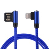 1m 2.4A Output USB to 8 Pin Double Elbow Design Nylon Weave Style Data Sync Charging Cable For iPhone X / iPhone 8 & 8 Plus / iPhone 7 & 7 Plus / iPhone 6 & 6s & 6 Plus & 6s Plus / iPhone 5 & 5S & SE & 5C / iPad (Dark Blue)