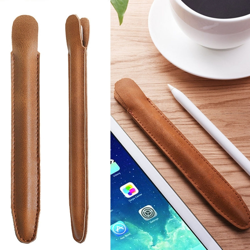Stylus Pen Protective PU Leather Pouch Holder Storage Case for Apple Pencil (Brown)