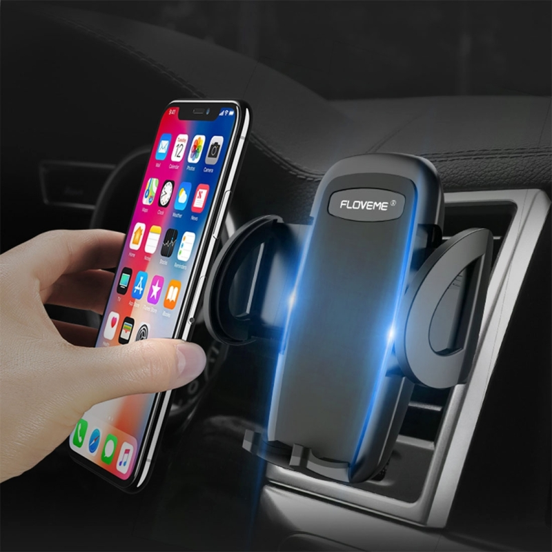 FLOVEME YXF111478 Car Air Outlet Mount 360 Degree Rotatable Phone Holder Cradle Stand, For iPhone, Samsung, LG, HTC, Huawei and other 4-6 inch Smartphones (Black)