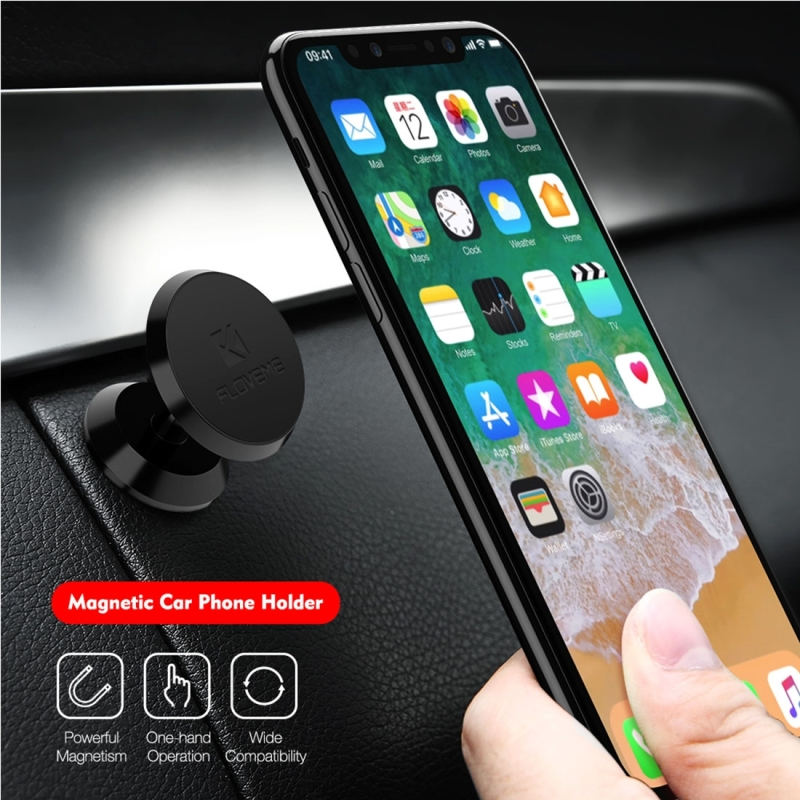 FLOVEME YXF88141 Universal 360 Degree Rotatable Magnetic Car Phone Holder Stand Mount, For iPhone, Galaxy, Sony, Lenovo, HTC, Huawei, and other Smartphones (Black)