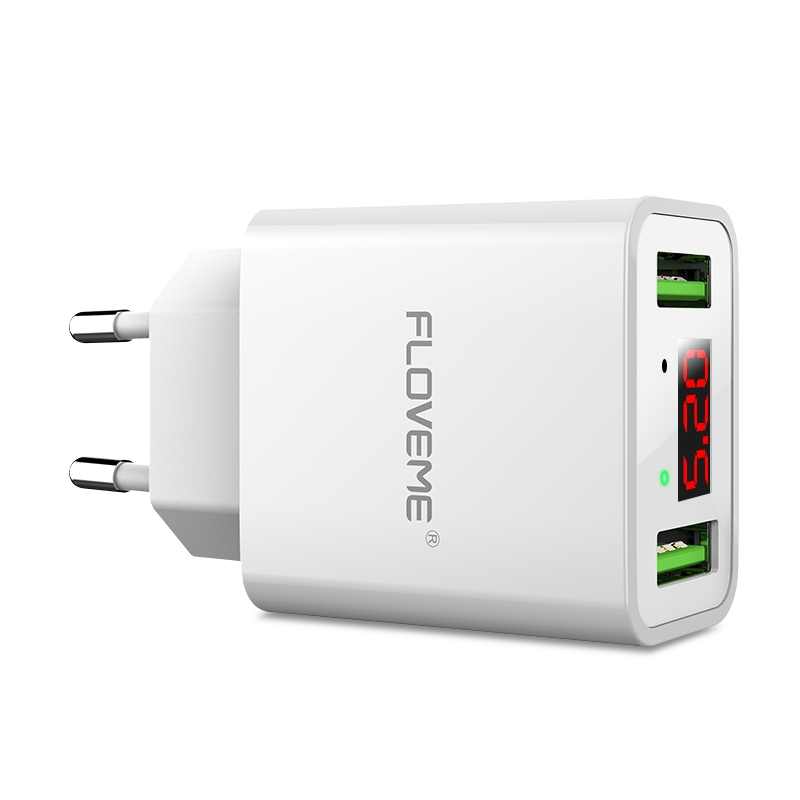 Port Charger Adapter With Digital Display: FLOVEME YXF101206 Digital Display Dual USB Ports 2.2A