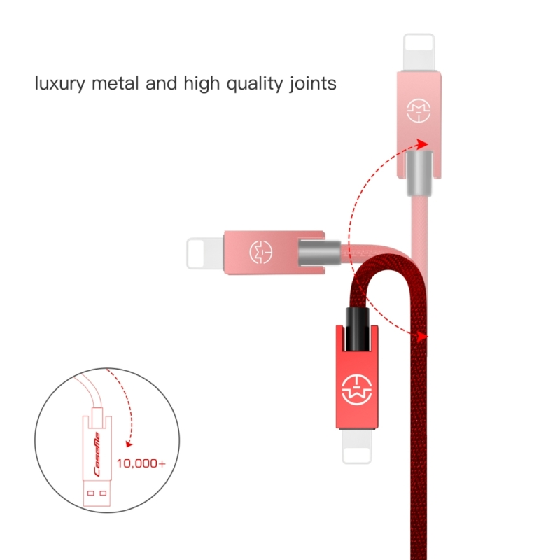 CaseMe 25cm 5V 2.1A Cloth Weave 3D Aluminium Alloy 8 Pin to USB Data Sync Charging Cable, For iPhone X / iPhone 8 & 8 Plus / iPhone 7 & 7 Plus / iPhone 6 & 6s & 6 Plus & 6s Plus / iPad (Red)